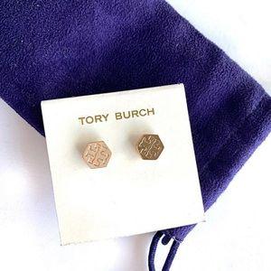 Tory Burch Hexagon Stud Earrings